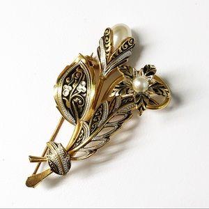 Damascene Pearl Flower Brooch